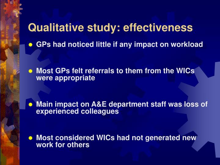 Qualitative study: effectiveness