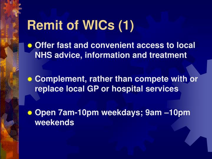 Remit of WICs (1)