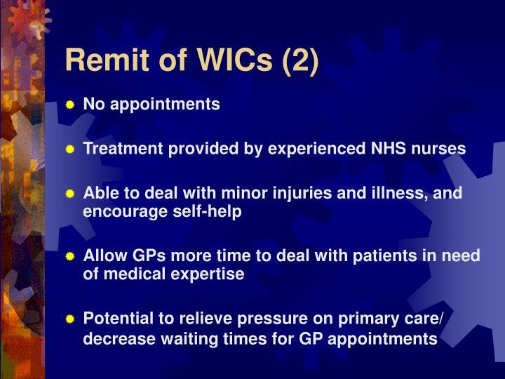 Remit of WICs (2)