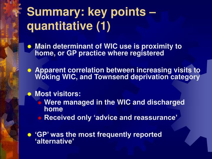 Summary: key points – quantitative (1)