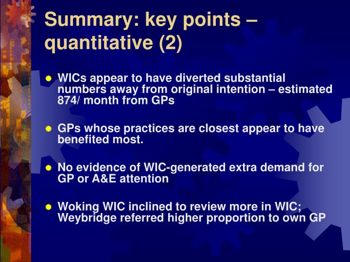 Summary: key points – quantitative (2)