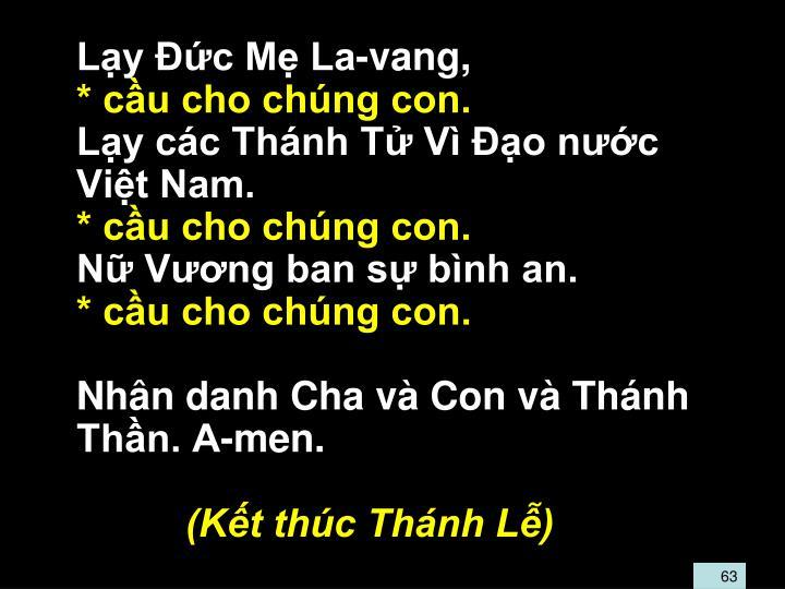 Lạy Ðức Mẹ La-vang,
