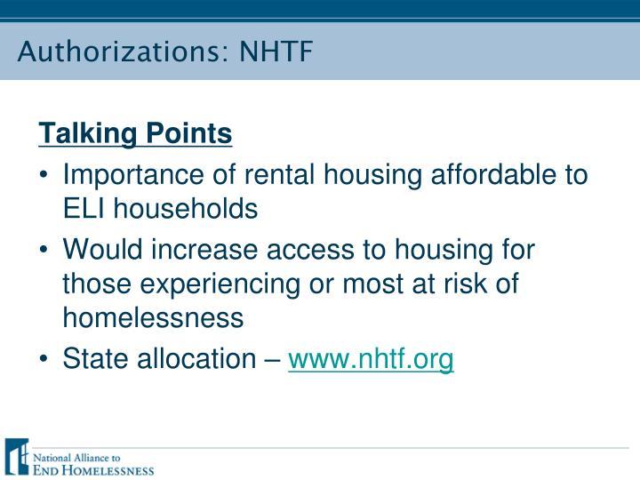 Authorizations: NHTF