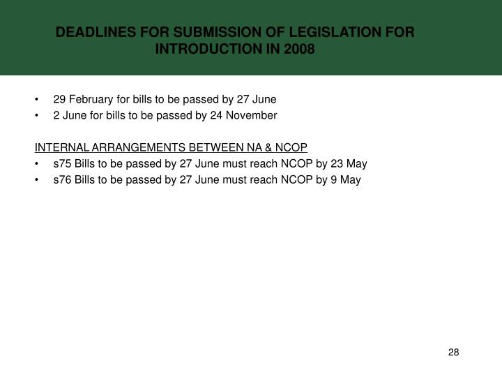 DEADLINES FOR SUBMISSION OF LEGISLATION FOR INTRODUCTION IN 2008
