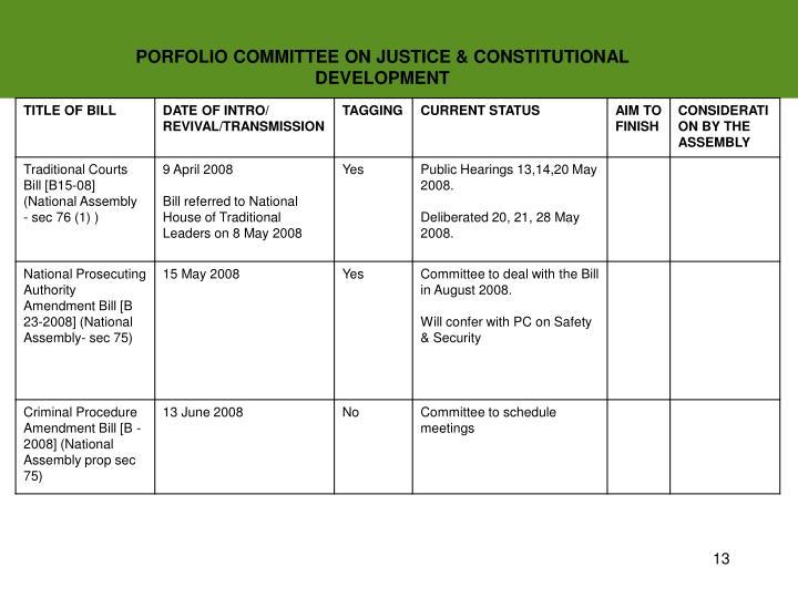 PORFOLIO COMMITTEE ON JUSTICE & CONSTITUTIONAL DEVELOPMENT