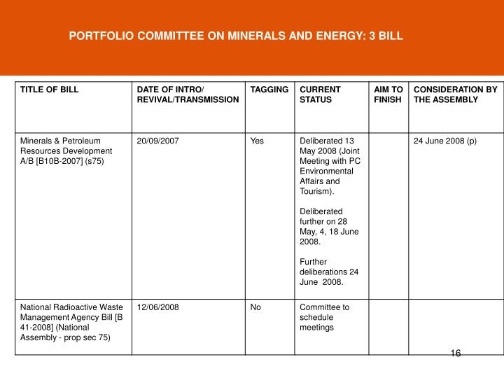 PORTFOLIO COMMITTEE ON MINERALS AND ENERGY: 3 BILL