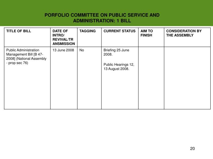 PORFOLIO COMMITTEE ON PUBLIC SERVICE AND ADMINISTRATION: 1 BILL