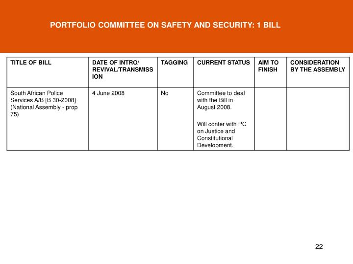 PORTFOLIO COMMITTEE ON SAFETY AND SECURITY: 1 BILL