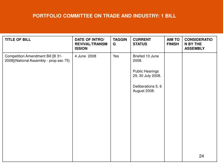 PORTFOLIO COMMITTEE ON TRADE AND INDUSTRY: 1 BILL