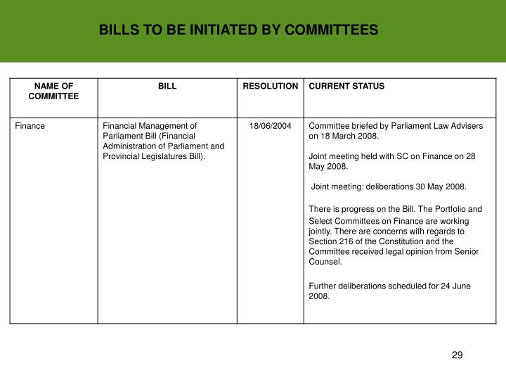 BILLS TO BE INITIATED BY COMMITTEES