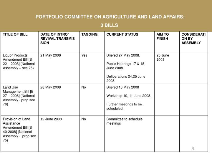 PORTFOLIO COMMITTEE ON AGRICULTURE AND LAND AFFAIRS: