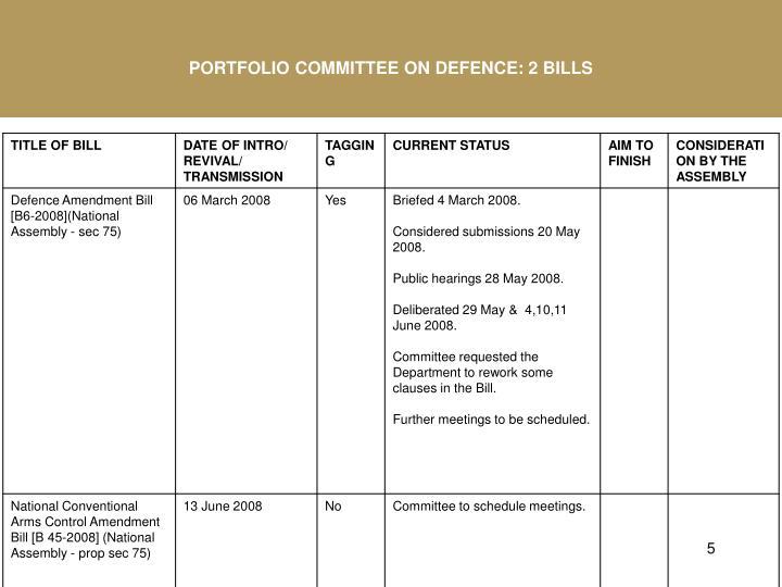 PORTFOLIO COMMITTEE ON DEFENCE: 2 BILLS