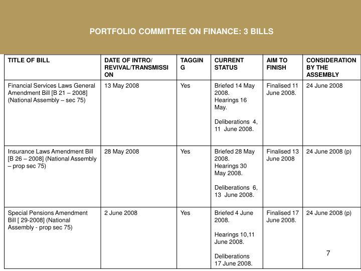 PORTFOLIO COMMITTEE ON FINANCE: 3 BILLS