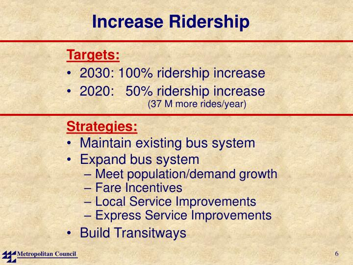 Increase Ridership