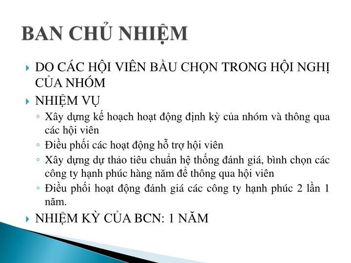 BAN CHỦ NHIỆM