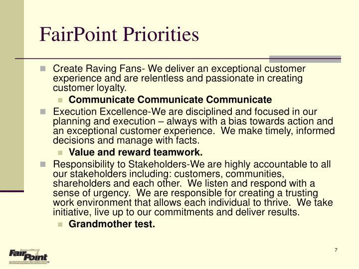 FairPoint Priorities