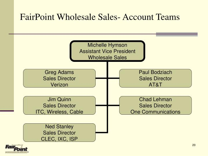 FairPoint Wholesale Sales- Account Teams