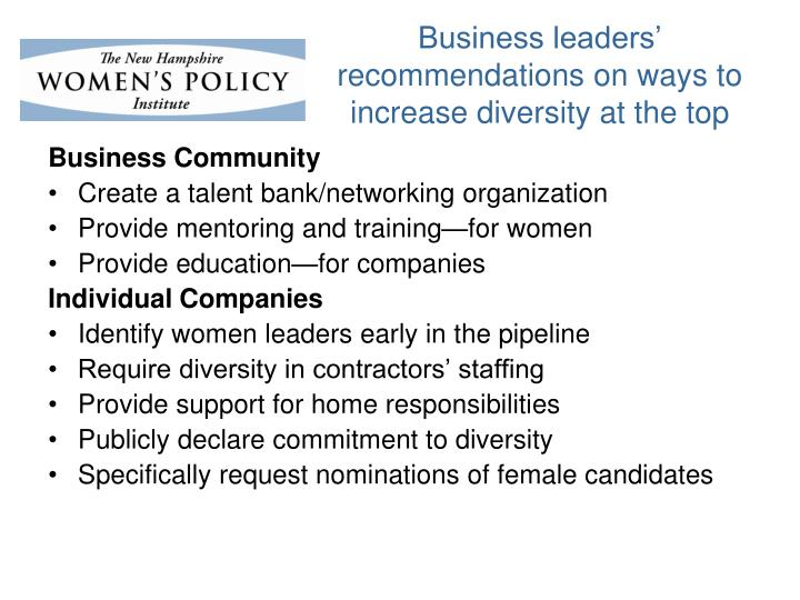 Business leaders' recommendations on ways to increase diversity at the top
