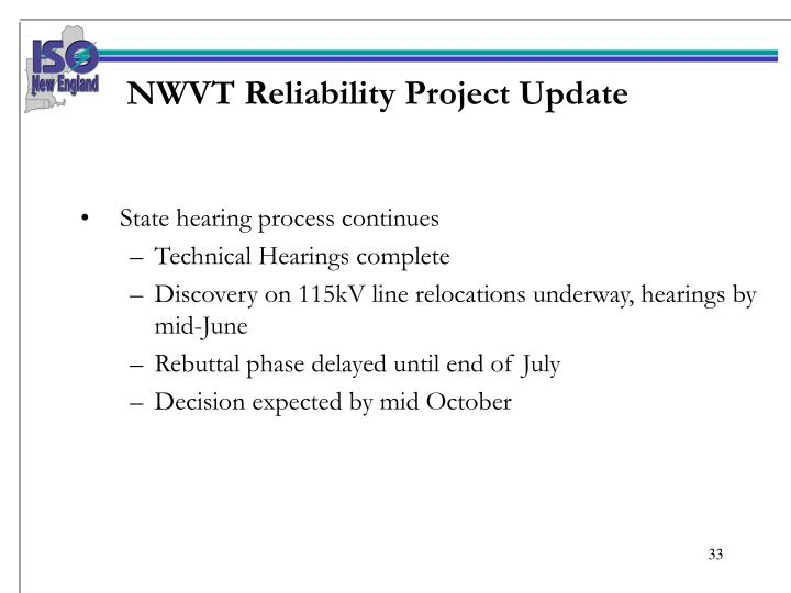 NWVT Reliability Project Update
