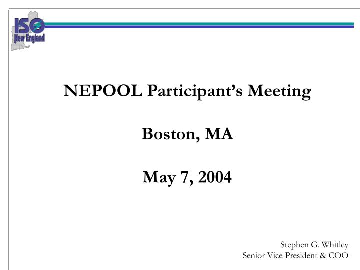 NEPOOL Participant's Meeting
