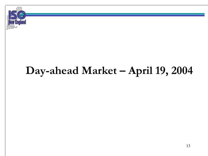 Day-ahead Market – April 19, 2004