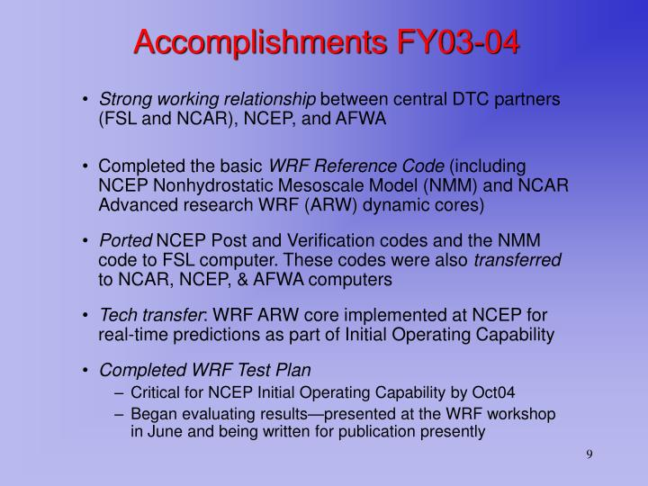 Accomplishments FY03-04
