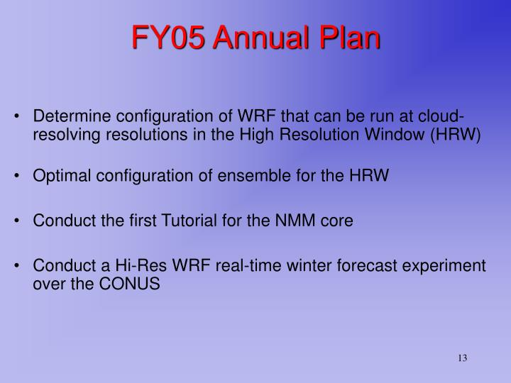 FY05 Annual Plan