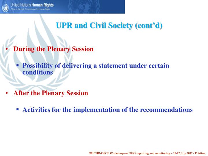 UPR and Civil Society (cont'd)