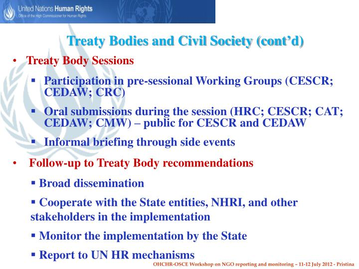 Treaty Bodies and Civil Society (cont'd)