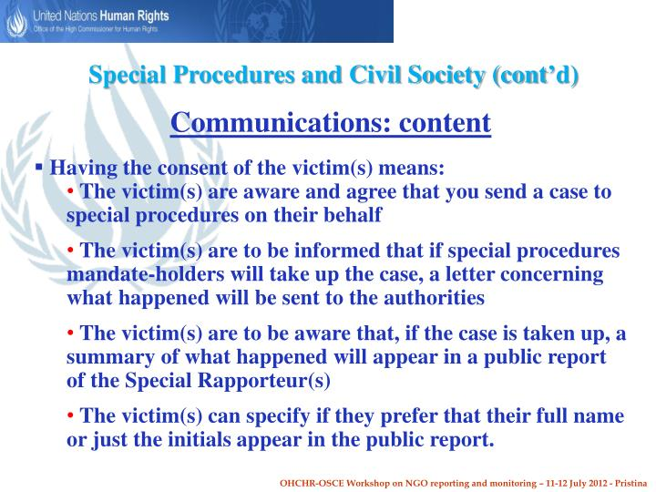 Special Procedures and Civil Society (cont'd)