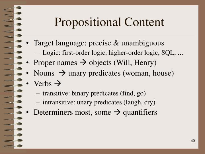 Propositional Content