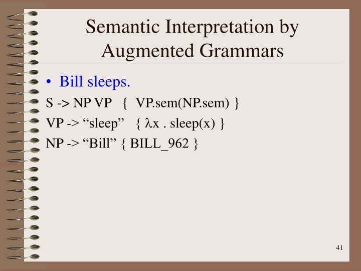 Semantic Interpretation by Augmented Grammars