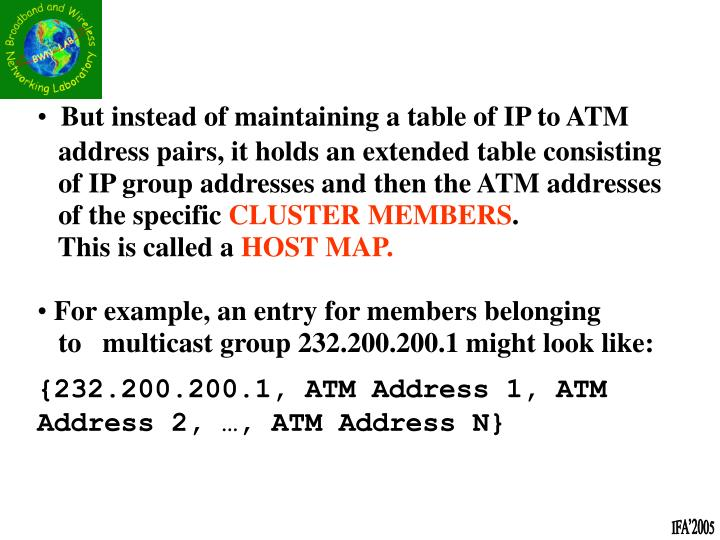 But instead of maintaining a table of IP to ATM