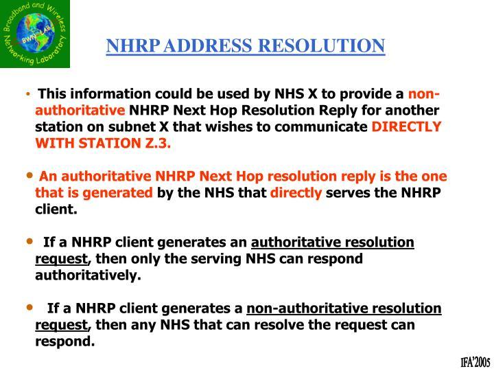 NHRP ADDRESS RESOLUTION