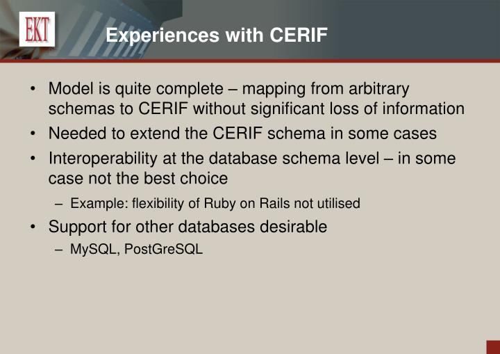 Experiences with CERIF
