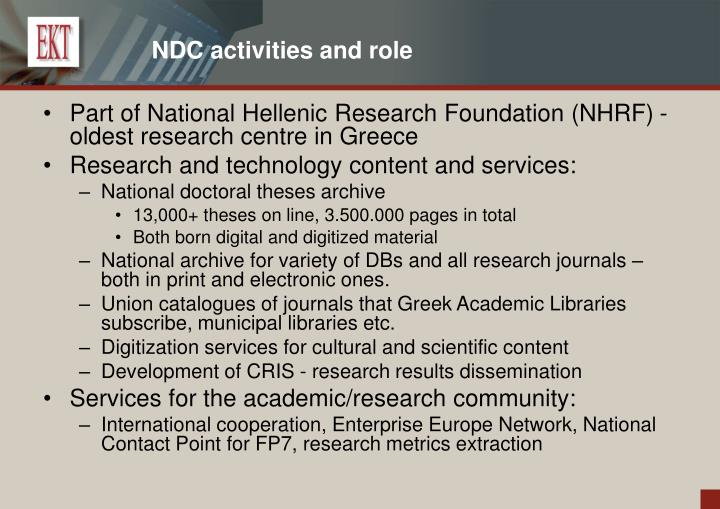 NDC activities and role