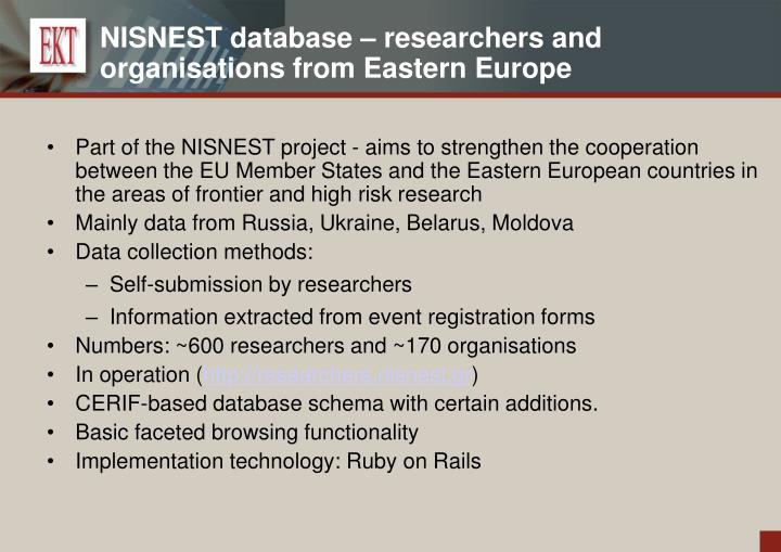 NISNEST database – researchers and organisations from Eastern Europe