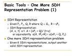 basic tools one more sdh representation problem 1