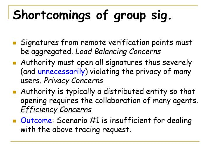 Shortcomings of group sig.