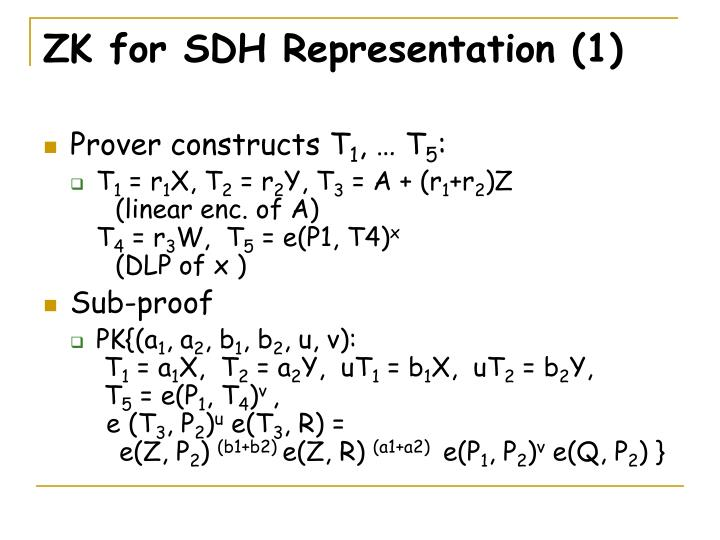 ZK for SDH Representation (1)