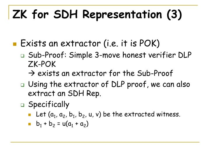 ZK for SDH Representation (3)