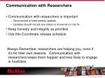 communication with researchers