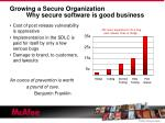 growing a secure organization why secure software is good business