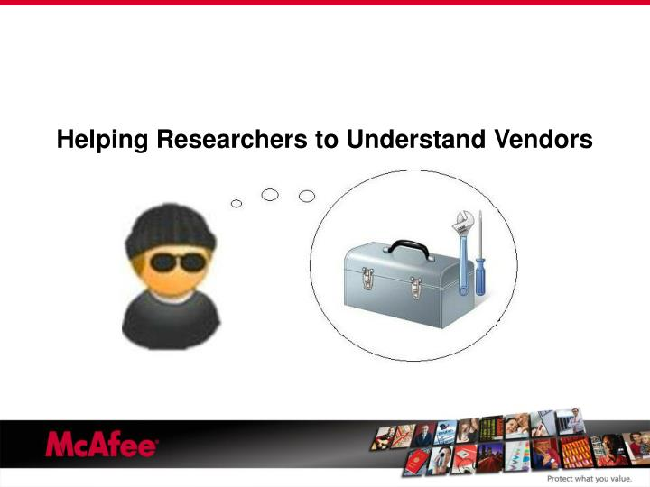 Helping Researchers to Understand Vendors
