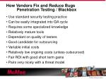 how vendors fix and reduce bugs penetration testing blackbox