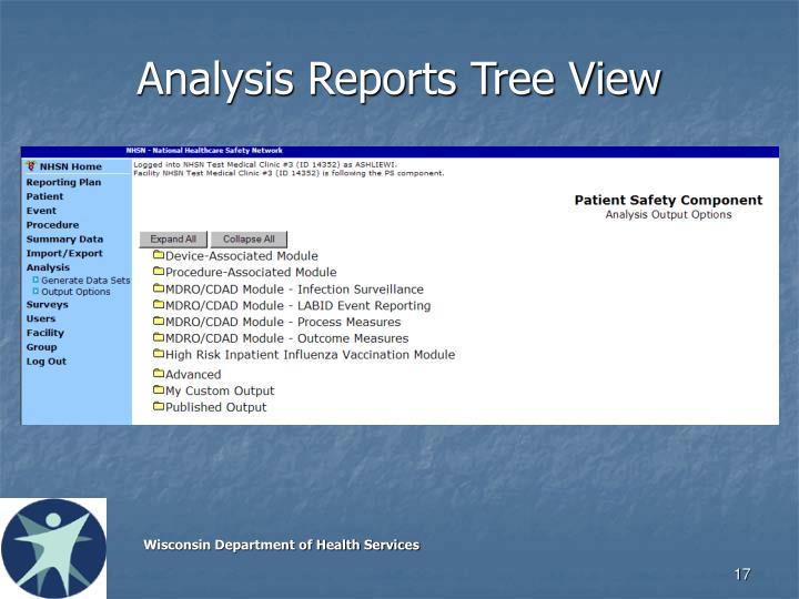 Analysis Reports Tree View