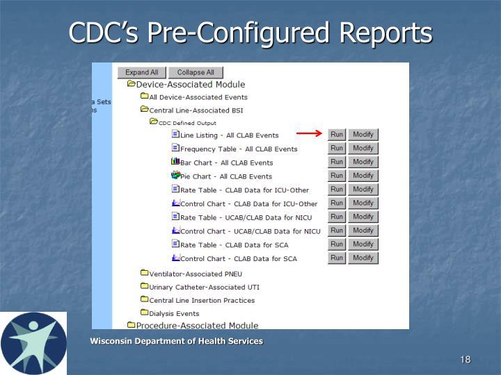 CDC's Pre-Configured Reports