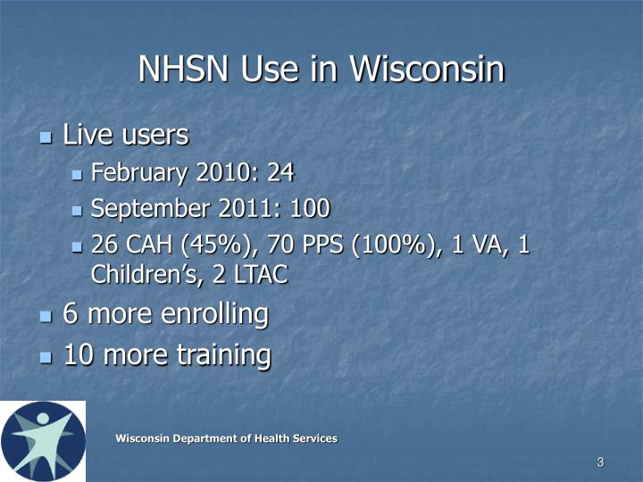 NHSN Use in Wisconsin