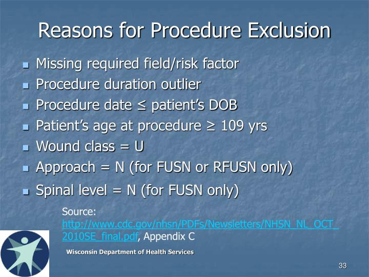 Reasons for Procedure Exclusion