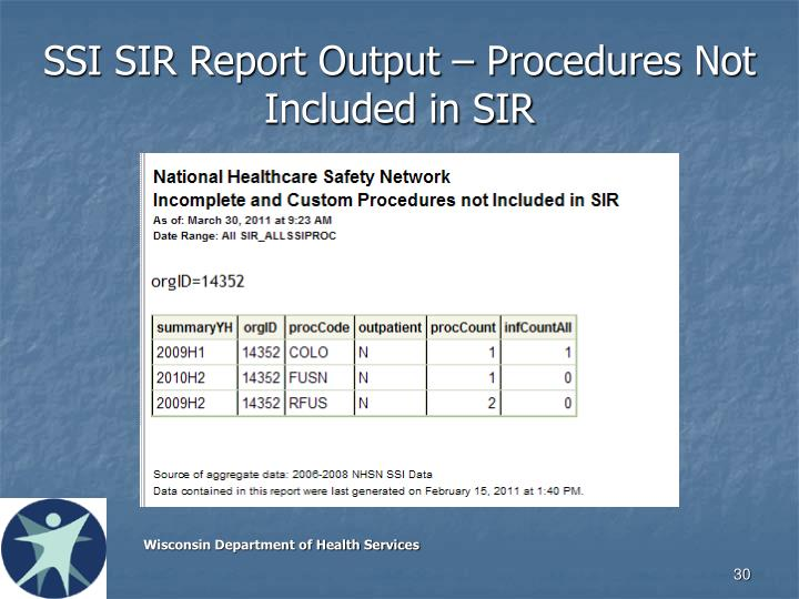 SSI SIR Report Output – Procedures Not Included in SIR